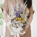 デルフィニウムと小花のナチュラルブーケ (ドライフラワー)