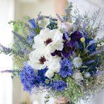 アネモネとラベンダーのブルーブーケ (造花/ドライフラワー)
