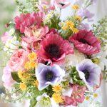ポピーとアネモネのカラフルブーケ (造花)