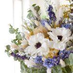 アネモネとドライフラワーのブルーブーケ (造花/ドライフラワー)