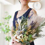 パームフラワーとパンパスグラスのナチュラルブーケ (造花/ドライフラワー)