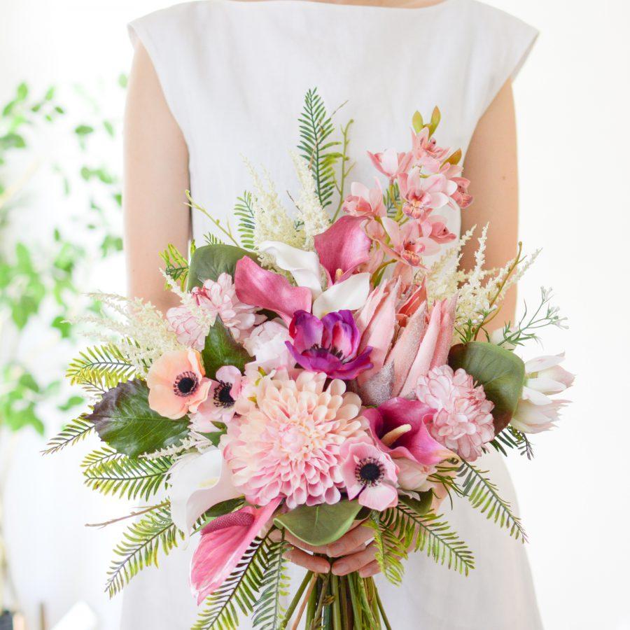 造花プロテア・ダリアの南国ウェディングブーケ
