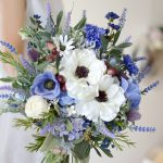 ブルーラベンダーとアネモネブーケ (造花)
