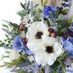 アネモネとラベンダーとオリーブの造花ブーケ