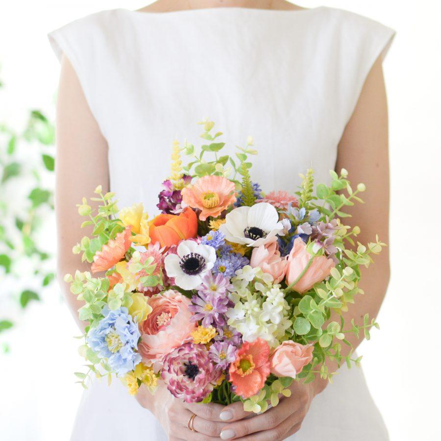 アネモネとラナンキュラスの春色ブーケ (造花)