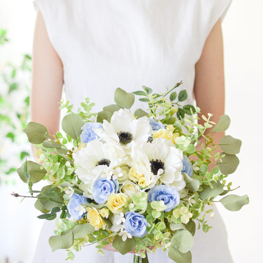 アネモネとパステルブルー・イエローブーケ (造花)